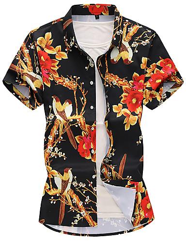 cheap Men's Shirts-Men's Casual Basic Shirt - Floral Black XXXXL