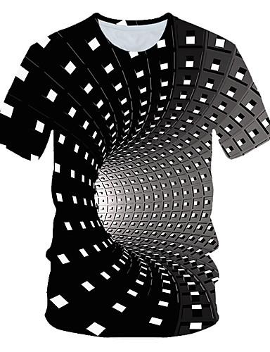 cheap 7/11-Men's Daily Basic EU / US Size T-shirt - Geometric / 3D Round Neck Rainbow XXL / Short Sleeve