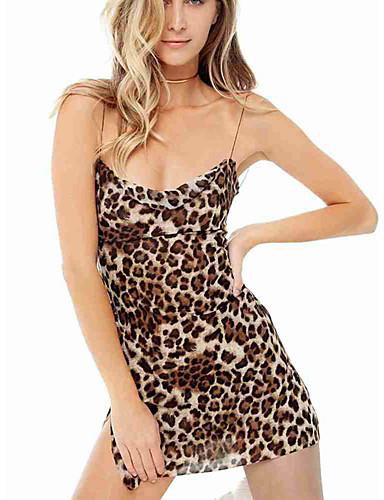billige Kjoler-Dame Gatemote Skjede Kjole - Leopard, Åpen rygg Delt Ovenfor knéet