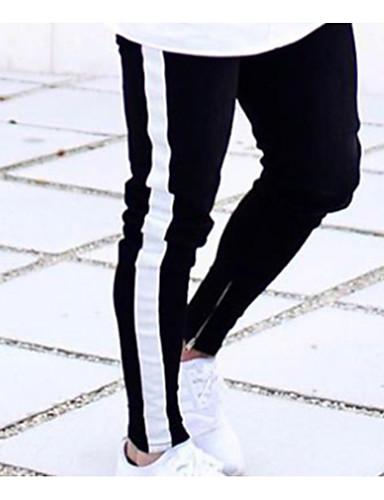 בגדי ריקוד גברים בסיסי / סגנון רחוב Jogger מכנסיים - דפוס שחור ולבן כותנה שחור XL XXL XXXL