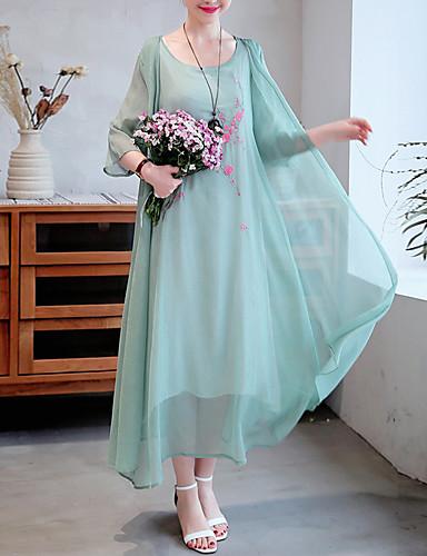 billige Kjoler-Dame Chinoiserie Chiffon Kjole Broderi Asymmetrisk