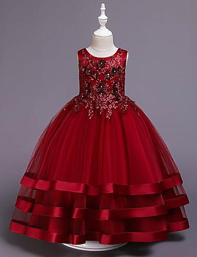 נסיכה אורך בינוני שמלה לנערת הפרחים  - כותנה / סאטן / טול ללא שרוולים עם תכשיטים עם אפליקציות / ריקמה / חגורה על ידי LAN TING Express
