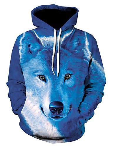 voordelige Herenmode-Heren Standaard Hoodie Jacket 3D / dier Capuchon