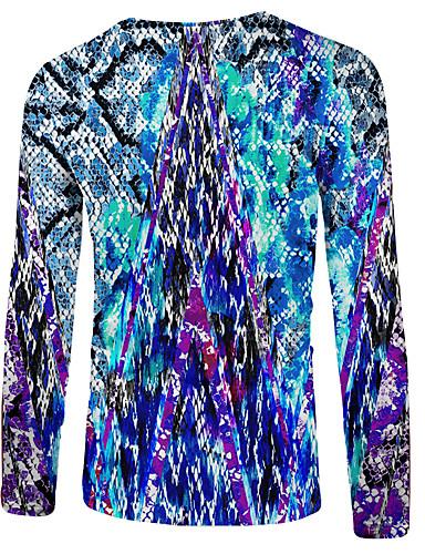 גיאומטרי / קולור בלוק / 3D צווארון עגול בסיסי / סגנון רחוב מידות גדולות טישרט - בגדי ריקוד גברים דפוס כחול נייבי / שרוול ארוך