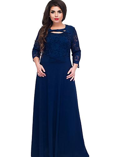 voordelige Maxi-jurken-Dames T Shirt Jurk - Effen, Kant Maxi