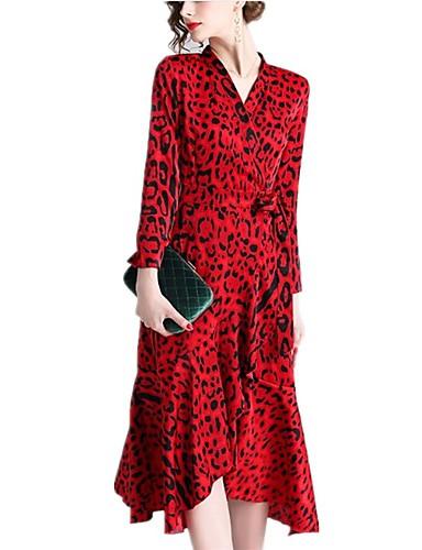 billige Kjoler-Dame Grunnleggende Sofistikert A-linje Swing Kjole - Leopard Fargeblokk, Trykt mønster Midi