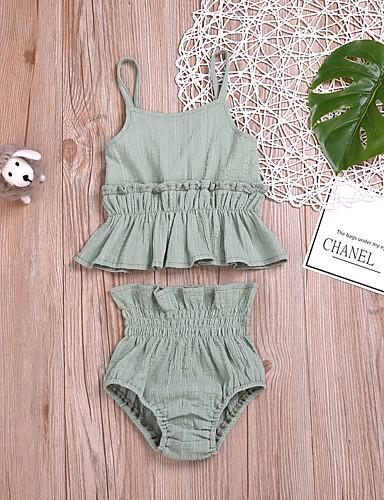 סט של בגדים כותנה ללא שרוולים קפלים אחיד פעיל / בסיסי בנות תִינוֹק