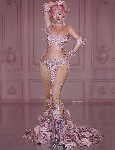 povoljno Egzotična plesna odjeća-Egzotična plesna odjeća Kombinezoni za izlaske Žene Seksi blagdanski kostimi Spandex Aplikacije / Akril Bisere / Kristali / Rhinestones Dugih rukava Haljina