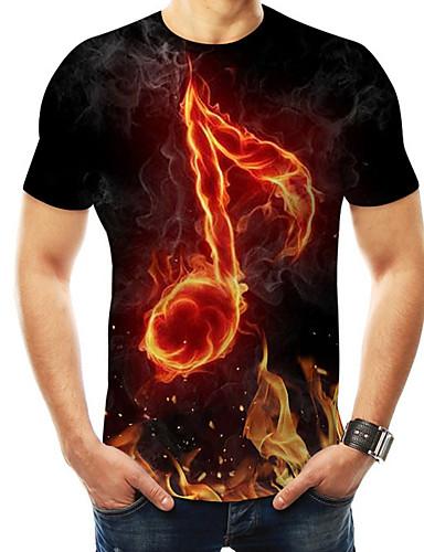 voordelige Uitverkoop-Heren Standaard / overdreven Print T-shirt 3D / Regenboog / Grafisch Ronde hals Zwart / Korte mouw