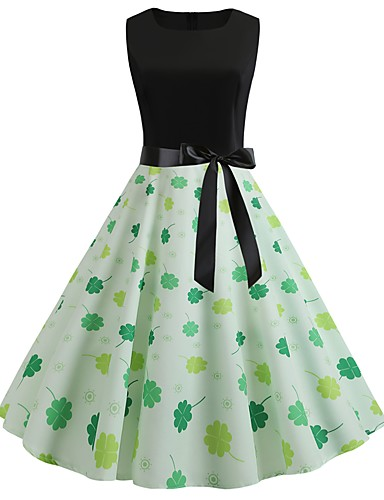 billige Kjoler-Dame Vintage A-linje Kjole - Blomstret, Lapper Trykt mønster Knelang