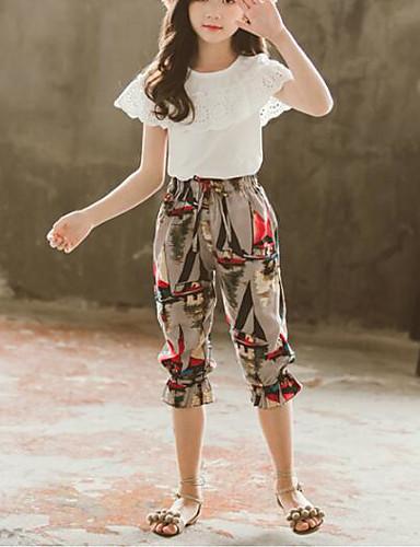 סט של בגדים שרוולים קצרים פפיון / דפוס אחיד / פרחוני פעיל / בוהו בנות ילדים