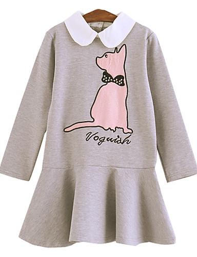 שמלה מעל הברך שרוול ארוך חיה חתול פעיל / מתוק בנות ילדים / כותנה
