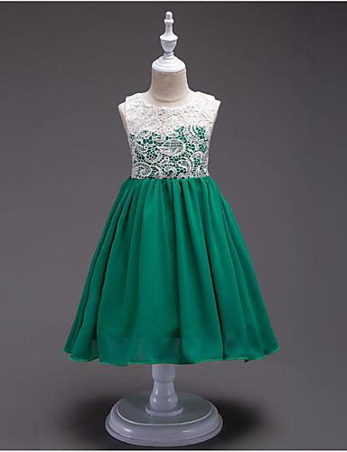 נסיכה באורך  הברך שמלה לנערת הפרחים  - כותנה / פוליאסטר ללא שרוולים עם תכשיטים עם דוגמא \ הדפס על ידי LAN TING Express