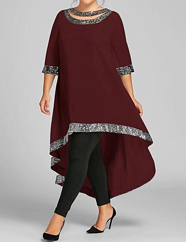 זול שמלות במידות גדולות-מקסי אחיד - שמלה נדן מידות גדולות בגדי ריקוד נשים