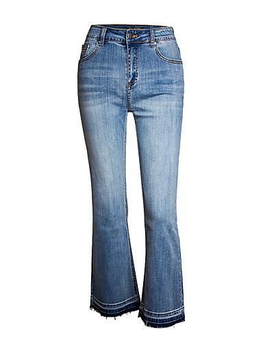 abordables Pantalons Femme-Femme Chic de Rue Ample Pour Bottes (Bootcut) Pantalon - Couleur Pleine Bleu, Classique Taille haute Coton Bleu XL XXL XXXL