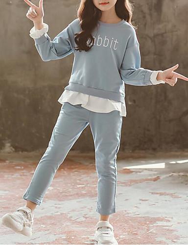 סט של בגדים כותנה שרוול ארוך Ruched אחיד פעיל / בסיסי בנות ילדים