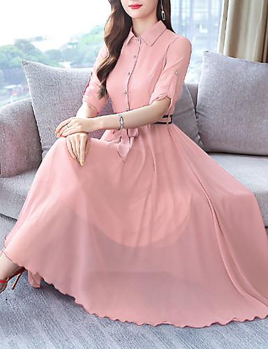 voordelige Maxi-jurken-Dames Street chic Elegant Wijd uitlopend Jurk Opstaand Maxi Stoffige roos