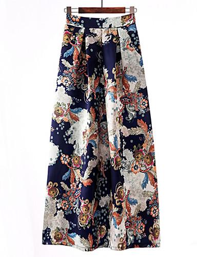 abordables Jupes-Femme Rétro Vintage Sophistiqué Maxi Droite Jupes Imprimé Bleu Noir Rouge XL XXL XXXL