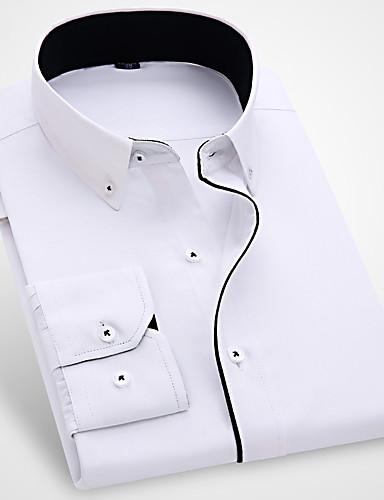 voordelige Herenoverhemden-Heren Zakelijk / Standaard Ruche Overhemd Katoen Effen Buttondown boord Slank blauw