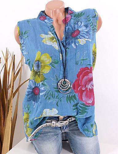 billige Topper til damer-V-hals Store størrelser Skjorte Dame - Blomstret, Blomster / Trykt mønster Grunnleggende Grønn US10 / Vår / Sommer / Høst