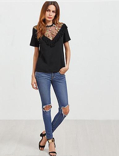 billige Topper til damer-T-skjorte Dame - Ensfarget, Netting / Lapper Svart US4