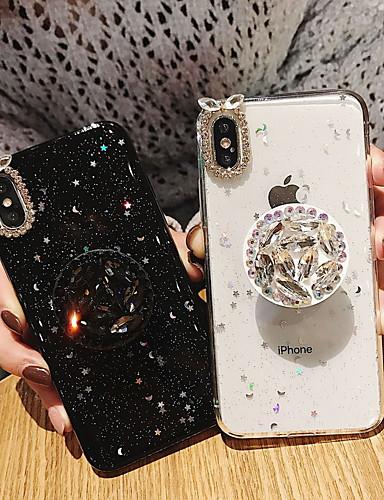 מגן עבור Apple iPhone XS / iPhone XR / iPhone XS Max ריינסטון / עם מעמד / זוהר ונוצץ כיסוי אחורי זוהר ונוצץ רך TPU