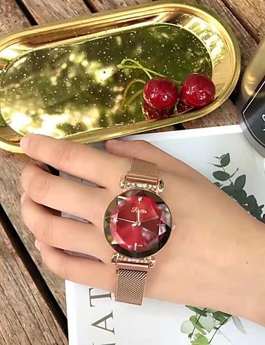 בגדי ריקוד נשים שעון מכני קווארץ מתכת אל חלד עמיד במים אנלוגי אופנתי - אדום ירוק חום בהיר