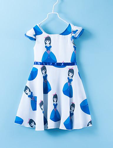 שמלה מעל הברך ללא שרוולים פפיון / דפוס אנימציה בסיסי / סגנון חמוד בנות ילדים / כותנה