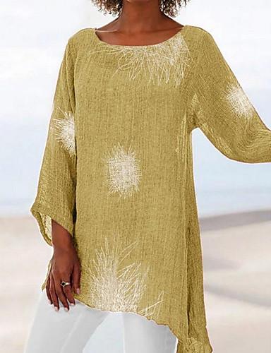 abordables Hauts pour Femmes-Tee-shirt Grandes Tailles Femme, Géométrique Ample Rouge