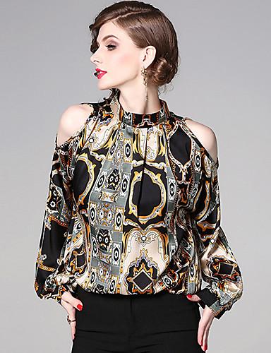 billige Dametopper-Skjorte Dame - Fargeblokk, Trykt mønster Vintage Svart US12