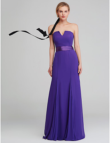 4e259f16a994 cheap Bridesmaid Dresses-Mermaid / Trumpet Strapless Long Length Chiffon Bridesmaid  Dress with by LAN