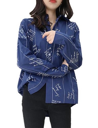 billige Topper til damer-Løstsittende Skjortekrage Skjorte Dame - Bokstaver, Lapper / Trykt mønster Grunnleggende / Elegant Hvit