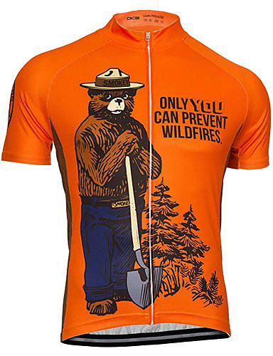 cheap Cycling Jerseys-21Grams Men's Short Sleeve Cycling Jersey Orange Smokey Bear Bike Top UV Resistant Breathable Moisture Wicking Sports Terylene Mountain Bike MTB Road Bike Cycling Clothing Apparel / Micro-elastic