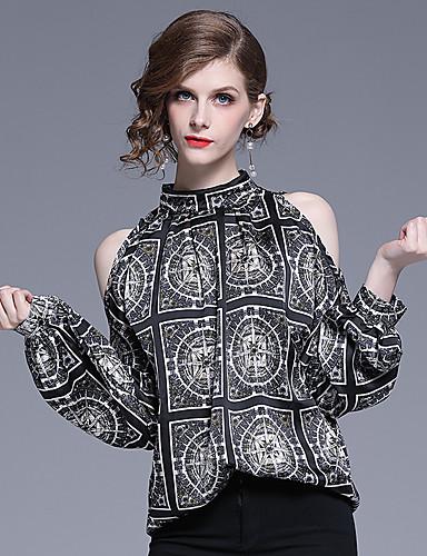 billige Dametopper-Skjorte Dame - Geometrisk, Trykt mønster Vintage Svart US12