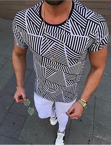 גיאומטרי צווארון עגול רזה בסיסי / סגנון רחוב כותנה, טישרט - בגדי ריקוד גברים דפוס שחור / שרוולים קצרים