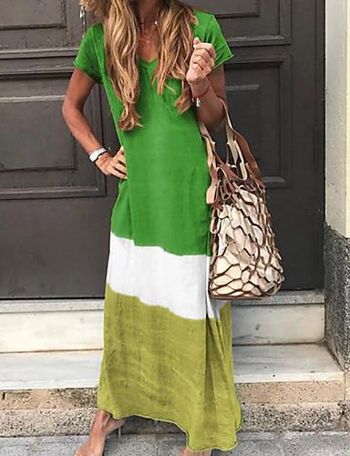 abordables Robes Femme-Femme Maxi Tunique Robe Bloc de Couleur Col en V Printemps Eté Automne Marine Gris Jaune L XL XXL Manches Courtes