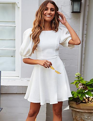 Kadın's Sokak Şıklığı Zarif A Şekilli Elbise - Solid Diz üstü