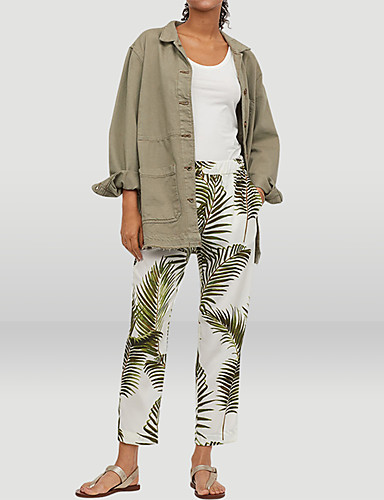 abordables Pantalons Femme-Femme Basique Chino Pantalon - Plantes Imprimé Arc-en-ciel S M L
