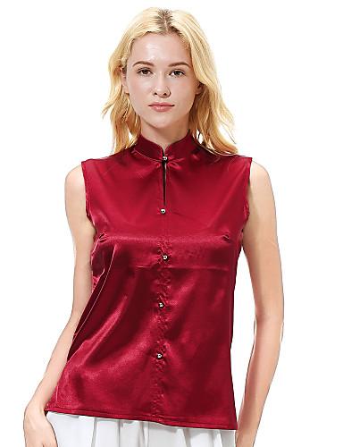 billige Topper til damer-Skjorte Dame - Ensfarget Grå US8 / UK12 / EU40