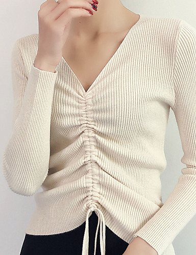 abordables Hauts pour Femmes-Femme Couleur Pleine Manches Longues Pullover, Col en V Automne Noir / Blanche / Rose Claire Taille unique