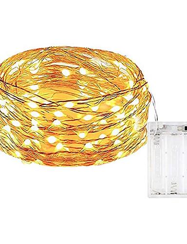 povoljno Rasvjeta-10m Žice sa svjetlima 100 LED diode SMD 0603 Toplo bijelo / Bijela / Više boja Vodootporno / Party / Ukrasno Baterije su pogonjene 1pc