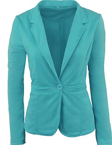 billige Ytterklær til damer-Dame Blazer, Ensfarget Skjortekrage Polyester Lysegrønn / Fuksia / Lyseblå L / XL / XXL