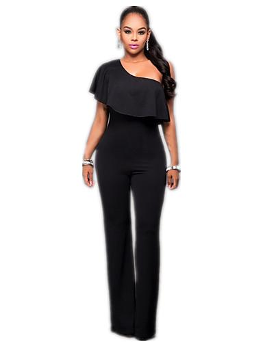 Kadın's Temel / Sokak Şıklığı Siyah Tulumlar, Solid Kırk Yama S M L