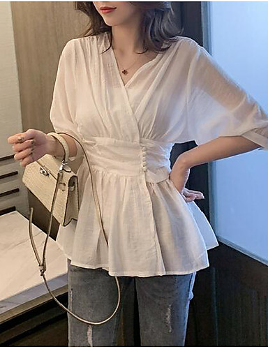 abordables Hauts pour Femmes-Tee-shirt Grandes Tailles Femme, Couleur Pleine Plissé Business / Basique Col en V Blanche
