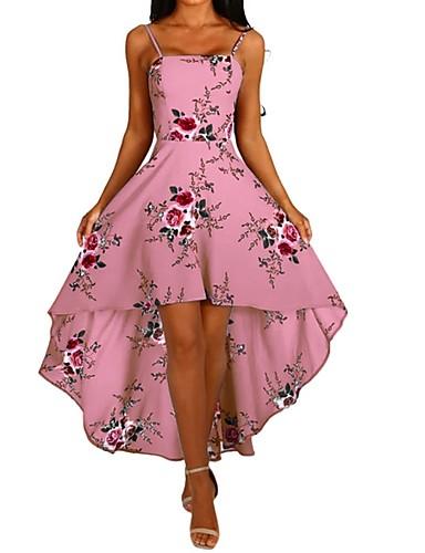 povoljno Floral Patterns Dresses-Žene A kroj Haljina - Cvijetan S remenčićima, Cvijet S naramenicama Asimetričan