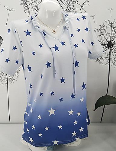 billige Dametopper-Løstsittende V-hals T-skjorte Dame - Galakse, Lapper / Trykt mønster Gatemote Blå Rosa