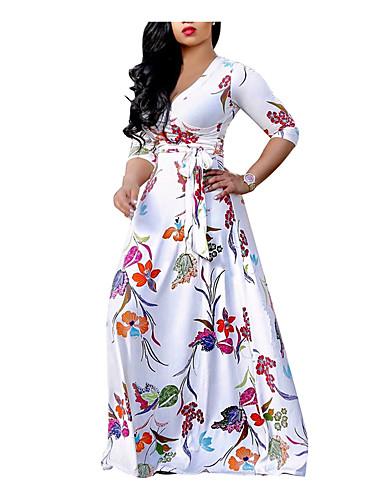 voordelige Grote maten jurken-Dames Grote maten Strand Boho Schede Wijd uitlopend Jurk - Bloemen V-hals Maxi Wit