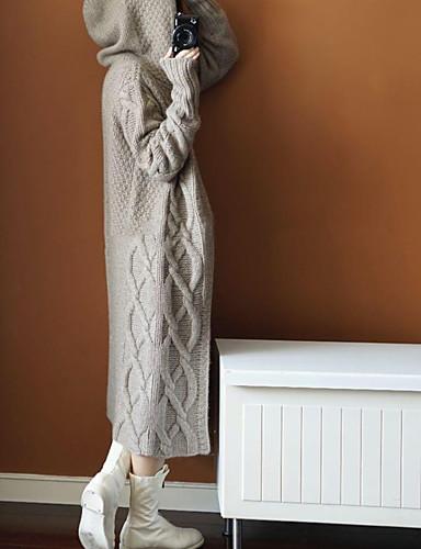abordables Hauts pour Femmes-Femme Couleur Pleine / Rayé / Tartan Manches Longues Ample Cardigan, Col en V Automne / Hiver Coton Noir / Chameau / Gris Taille unique