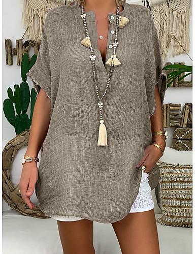 billige Dametopper-Bomull Løstsittende V-hals Store størrelser Skjorte Dame - Ensfarget Grunnleggende / Gatemote Fuksia