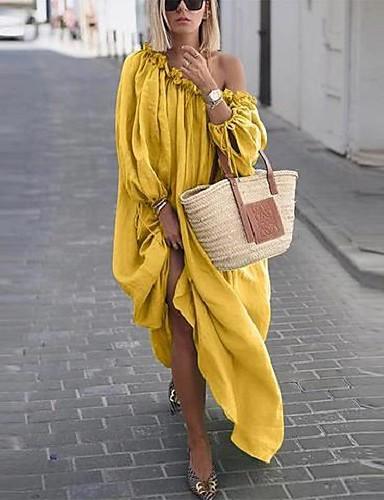 abordables Robes Femme-Femme Elégant Maxi Balançoire Robe - Lacet, Couleur Pleine Blanche Violet Rose Claire S M L Manches Longues